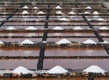 Salina del Carmen salt evaporation ponds Royalty Free Stock Photos