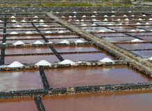 Salina del Carmen salt evaporation ponds Stock Photos