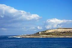 Salina podpalana linia brzegowa, Malta Fotografia Royalty Free