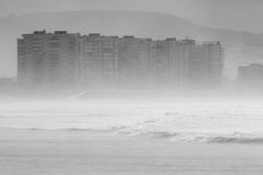 Salinas, Asturias, northern Spain, under the haze Royalty Free Stock Images