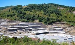 Salinas De Anana w Baskijskim kraju, Hiszpania zdjęcia stock
