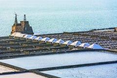 salinas de Janubio在Lanzarote,西班牙 免版税库存照片