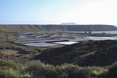 Salinas de Janubio是盐舱内甲板在加那利群岛的兰萨罗特岛 库存图片