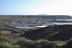 Salinas de Janubio είναι αλατισμένα επίπεδα σε Lanzarote των Κανάριων νησιών Στοκ Εικόνα