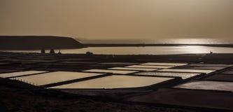 Salinas de Janubio sulla costa di Lanzarote in isole Canarie Estrazione di sale marino fotografie stock
