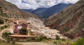 Salinas de Maras,盐蒸发在神圣的谷和库斯科省附近筑成池塘在南秘鲁 免版税库存照片