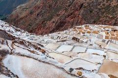 Salinas de Maras,秘鲁 盐自然矿 印加人在Maras的盐平底锅,在神圣的谷的库斯科省附近,秘鲁 地区莫斯科一幅全景 免版税库存图片