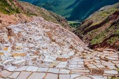 Salinas De Maras blisko cuzco na słonecznym dniu Obraz Stock