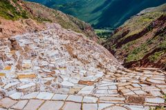Salinas de maras near cuzco on a sunny day Stock Image