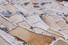 Salinas de Maras, Perù Miniera naturale del sale Pentole di Inca Salt a Maras, vicino a Cuzco in valle sacra, il Perù Fotografie Stock