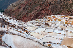 Salinas de Maras,Peru . Salt natural mine. Inca Salt pans at Maras, near Cuzco in Sacred Valley, Peru. Panoramic view. Royalty Free Stock Images