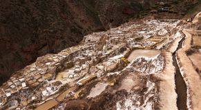 Salinas de Maras, salta avdunstningdamm nära den sakrala dalen och Cuzco i sydliga Peru Arkivbilder