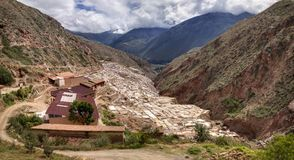 Salinas de Maras, Salzverdampfung staut nahe dem heiligen Tal und dem Cuzco in Süd-Peru Lizenzfreie Stockfotos
