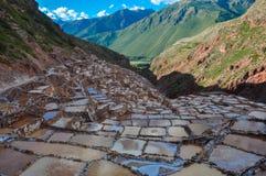 Salinas de Maras, valle sagrado, Perú Fotos de archivo