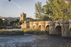 Salinas de Pisuerga. Palencia/Spain, August 15, 2014 : Medieval bridge over the river Pisuerga Royalty Free Stock Photo