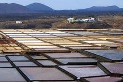 Salinas del Janubio Лансароте, Канарские островы, туристическая достопримечательность Стоковые Фото