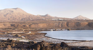 Salinas del Janubio panorama, Lanzarote Royalty Free Stock Images