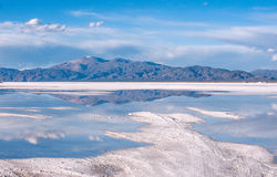 Salinas Grandes on Argentina Andes is a salt desert in the Jujuy. Province. More significantly, Bolivas Salar de Uyuni is also located in the same region Stock Photos