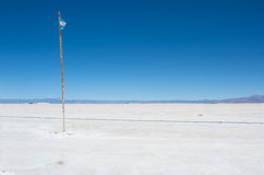 Salinas Grandes and flag of Argentina Royalty Free Stock Images