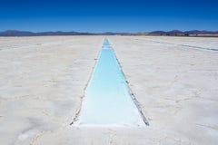 Salinas Grandes i przykop woda i sól Zdjęcie Stock
