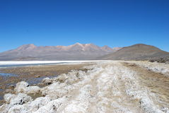 Salinas1. Salt lake i the Peruvian highland Royalty Free Stock Photos