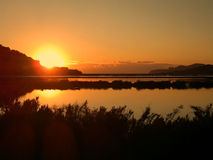 Salinassaltplainssolnedgång Ibiza Fotografering för Bildbyråer