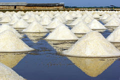 Saline. Salt piles in Thailand,falmer culture to prepare for store in warehouse Stock Images