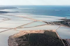 Saline aerial view in shark bay Australia Stock Photos