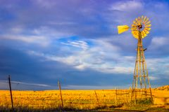 Free Saline County, KS USA - Aeromotor Windmill Amidst Kansas Prairie At Sunset Stock Image - 164275021
