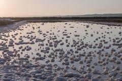 Saline evaporation ponds Royalty Free Stock Images