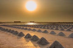 Saline, salt farm in sunset Royalty Free Stock Photos