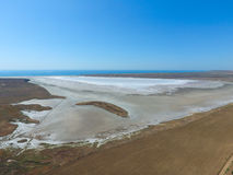 Saline Salt Lake in the Azov Sea coast. Former estuary. View from above. Dry lake. View of the salt lake with a bird's eye view Royalty Free Stock Photos