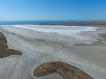 Saline Salt Lake in the Azov Sea coast. Former estuary. View from above. Dry lake. View of the salt lake with a bird's eye view Stock Image