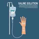 Saline solution with hand. Isolated saline solution with hand on blue background stock illustration