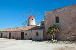 Saline trapani mill Stock Images