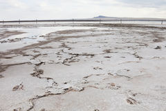 Saline (salt lake) Baskunchak landscape. Stock Photo