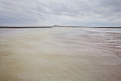 Saline (salt lake) Baskunchak landscape. Royalty Free Stock Photography