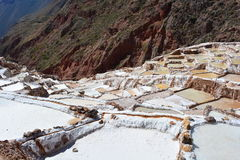 Salineras de Mara salt fields in Cusco, Peru. The Salineras de Mara is a salt field used to obtain salt from the water that comes from the Andes Mountain Range Royalty Free Stock Photography