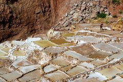 Salineras de Maras, the Salt Mines from the Ancient Time still in Productions Today in Sacred Valley of the Incas, Cusco region royalty free stock photo