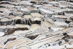 ` Salineras eller Salinas de Maras `, i de Anderna bergen i Cusco, Peru Fotografering för Bildbyråer