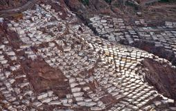 Salineras - minas de sal - Maras cerca de Urubamba - Perú Fotografía de archivo libre de regalías