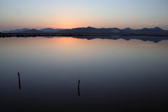 Salines de lac sunset photographie stock libre de droits