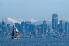 Sailboat Racing on Puget Sound, Seattle, Washington State. Salinig Races in the Pacific Northwest USA Royalty Free Stock Photos
