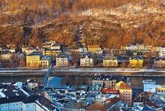 Salisburgo Austria al tramonto Fotografia Stock Libera da Diritti