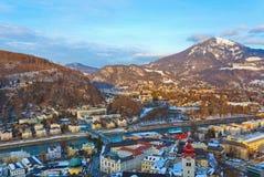 Salisburgo Austria al tramonto Fotografia Stock