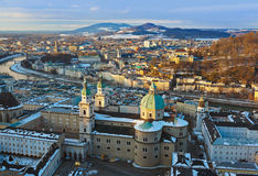 Salisburgo Austria al tramonto Fotografie Stock