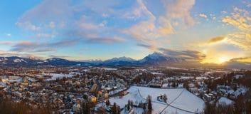 Salisburgo Austria al tramonto Immagine Stock Libera da Diritti