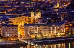 Salisburgo Austria alla notte Immagini Stock Libere da Diritti