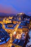 Salisburgo Austria alla notte Fotografia Stock Libera da Diritti