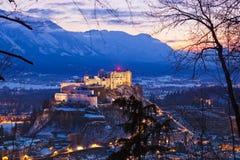 Salisburgo e castello Hohensalzburg al tramonto - Austria Fotografia Stock Libera da Diritti